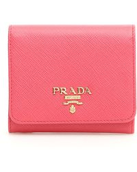 2d0a211bc7bdf8 Prada Saffiano Bow Zip-Around Wallet in Red - Lyst