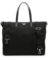 Prada - Nylon + Saffiano Tote Bag - Lyst