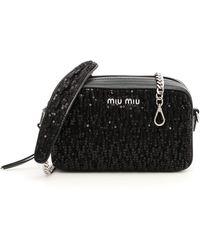 Miu Miu - Leather And Sequins Bag - Lyst