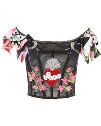 Dolce & Gabbana - Embroidered Bustier Top - Lyst