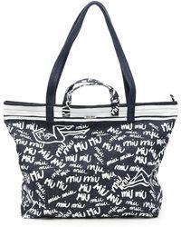 Miu Miu - Printed Denim Shopping Bag - Lyst