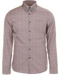 Prada - Shirt With Studded Collar - Lyst