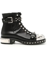 Alexander McQueen - Hobnail Studded Leather Ankle Boots - Lyst