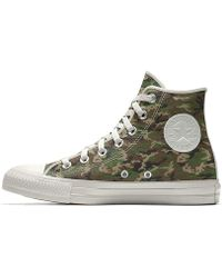 fbe38489bbae Lyst - Converse Metallic Silver Canvas Hi Top Chuck Taylor Trainers ...
