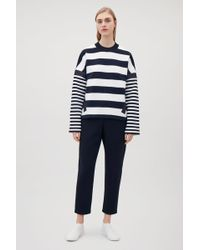 COS Striped Sweatshirt With Knitted Neck