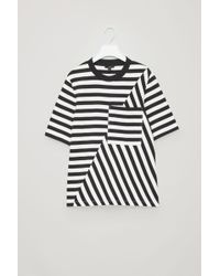 COS - Mismatched Striped T-shirt - Lyst