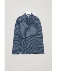 COS - Striped Top With Draped Neck - Lyst