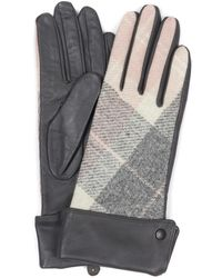 Barbour - Stowe Womens Grey Leather Tartan Adjustable Length Gloves - Lyst