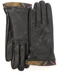 Barbour - Tartan Trimmed Leather Womens Gloves - Lyst