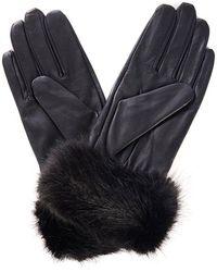 Barbour Fur Trimmed Leather Gloves - Black