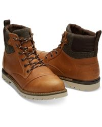 7c1d18f4e6c TOMS - Ashland Waterproof Dark Toffee Leather Brushed Wool Mens Boot - Lyst