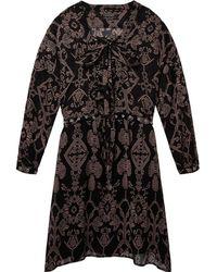 Maison Scotch - Printed Sheer Lace Up Oversized Womens Dress - Lyst