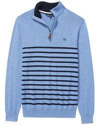 Crew - Classic Half Zip Stripe Mens Sweater - Lyst