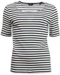 GANT - Striped Rib Womens T-shirt S/s - Lyst