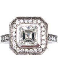 Ashley Schenkein Jewelry - Diamond Oxidized Engagement Ring – Ascher Cut - Lyst
