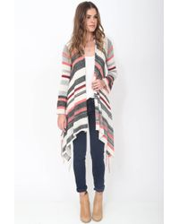 Goddis - Linsey Hooded Wrap W/ Fringe In Tango - Lyst