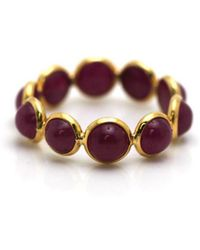 Trésor - Ruby Round Stackable Ring Bands In K Yellow Gold - Lyst