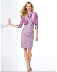 Mon Cheri - 117808 Two-piece Lace Shantung Bateau Neck Dress - Lyst