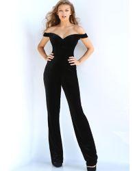 298bd98afb5d Jovani - 58964 Off Shoulder Velvet Jumpsuit Overskirt Gown - Lyst