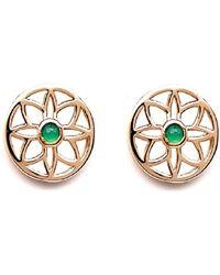 Rachael Ryen - Emerald Flower Earrings Gold - Lyst