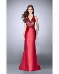 La Femme - Gigi - 24492 Graceful Lace Illusion Long Evening Gown With Drape Overlay - Lyst