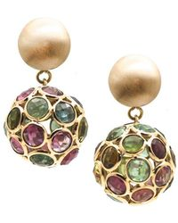 Trésor - Multi Tourmaline Origami Sphere Ball Earring In K Yellow Gold - Lyst