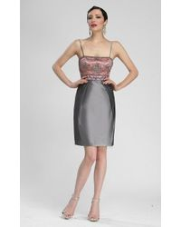 Sue Wong - Sleeveless Embellished Bodice Empire Taffeta Dress N3434 - 1 Pc Charcoal In Size 6 Available - Lyst