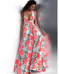 Jovani - Jvn66937 Plunging Neck Floral Print Satin Gown - Lyst