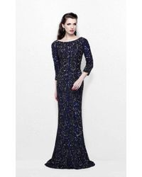 Primavera Couture - Regal Sequined Long Sleeves Bateau Sheath Gown - Lyst