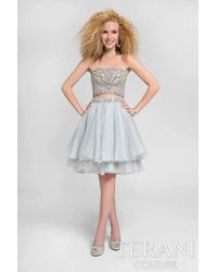 Terani - Beaded Scallop Two-piece Dress With Tiered Skirt P - Lyst