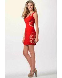 Jovani - Pretty Short Dress With Sheer Patterns Jvn - Lyst