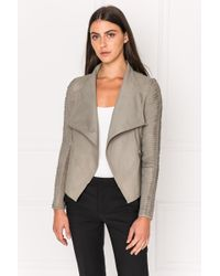 Lamarque - Brenda Taupe Cascade Collar Stripped Leather Jacket - Lyst