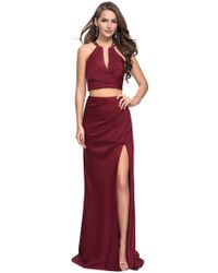 a1ac7336 Lyst - La Femme 15907 Tight-fitted Ruched V-neck Sheath Cocktail ...