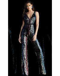 9e7ada4a38e Jovani - Sequined Plunging V Neck Fitted Jumpsuit 65396 - 1 Pc Multi In  Size 10