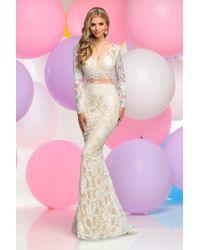 Zoey Grey - Long Sleeve V-neck Lace Sheath Dress - Lyst