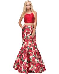 Couture Candy - Two-piece With Floral Print Mermaid Dress - Lyst