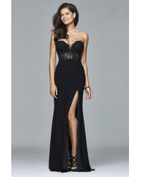 Faviana - S Sequined Lace Sweetheart Neck Dress With Illusion - Lyst