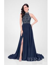 Terani - Jeweled Patterned Halter Prom Dress P - Lyst