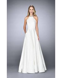 La Femme - 24888 Pleated Halter Evening Gown - Lyst
