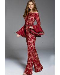 7b8b63704da Couture Candy · Jovani - 57203 Long Flounce Sleeve Off Shoulder Lace  Jumpsuit - Lyst