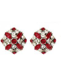 Ben-Amun - Ruby Crystal Button Earrings - Lyst