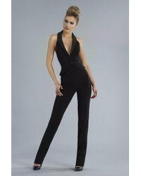 Janique - Sleeveless Beaded Halter Neck Peplum Accented Pantsuit K6548 - Lyst