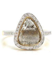Trésor - Organic Diamond Slice With Round Brilliant Diamond Ring In K Yg - Lyst