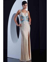 Jasz Couture - Dress In Nude Turquoise - Lyst
