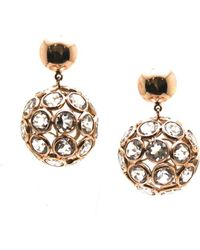 Trésor - White Topaz Origami Sphere Ball Earrings In K Rose Gold - Lyst