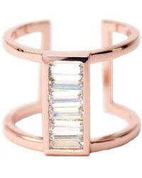 Rachael Ryen | Baguette Cage Ring - Rose Gold | Lyst