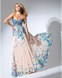 Mon Cheri - Tb Evenings By - Tbe Long Dress In Coral Multicolor - Lyst