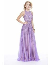 Shail K - 12205 Sequined Halter Tulle A-line Dress - Lyst