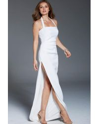 Jovani - Draped Halter High Slit Sheath Gown 61001 - 1 Pc White In Size 6 Available - Lyst