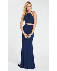 39f494b68d3a5 Lyst - Alyce Paris 60018 Two-piece Cutout Bodice Halter Jersey Gown ...